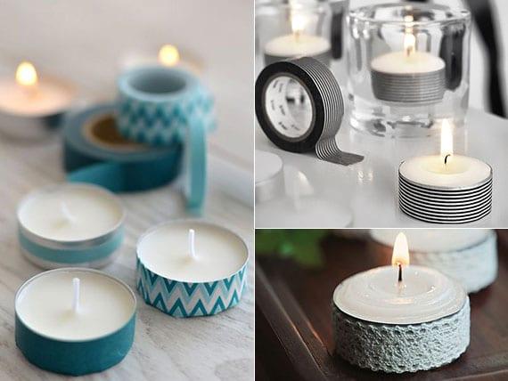 tolle ideen für dekoration mit bunte teelicht kerzen