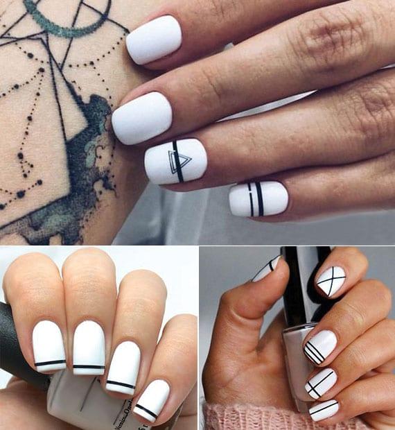 originelle nagelkunst mit schwarzen linien als idee für attraktive maniküre mit weissen nägeln