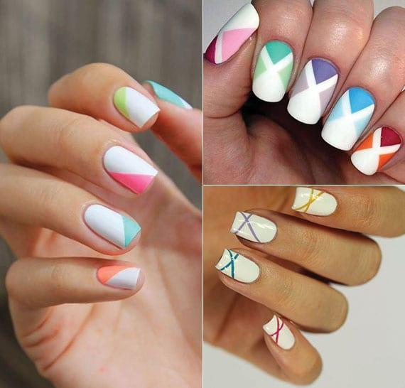 weiße nägel bunt gestalten für den sommer mit geometrischen motiven in knallfarben