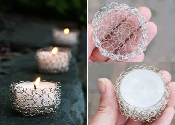 coole kerzenlicht dekoidee mit selbstgemachten teelicht-haltern aus maschendraht