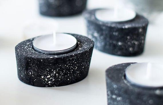 teelicht-halter basteln mit beton für moderne tischdeko mit akzent in schwarz
