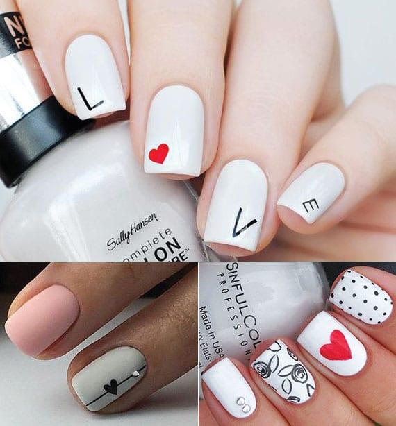 coole nagelgestaltung idee für weiß lackierte fingernägel mit schwarzen buchstaben und rotem herz