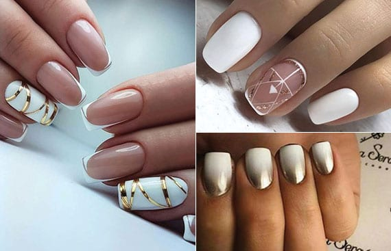 goldene nagel aufkleber für schicke maniküre weiß und ombre-nagelgestaltung in weiß und gold