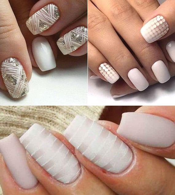 tolle nagelkunst ideen für weiße maniküre mit griltzernen akzenten