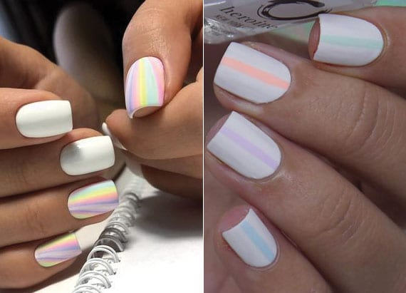 ideen für sommermaniküre mit weißen nägeln und farbenfrohes nageldesign