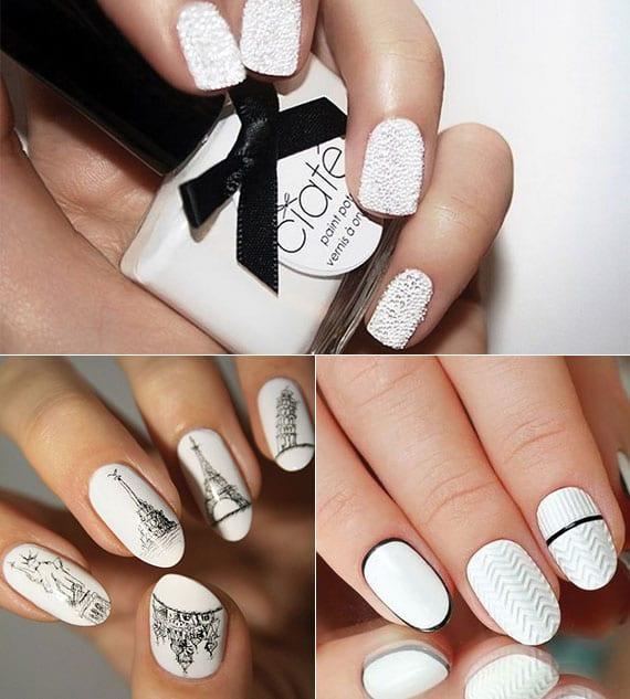 weiße nägel kreativ gestalten mit Perlen-nagellack weiß, 3D-designtechnik und sehenswürdigkeiten-nagel-sticker