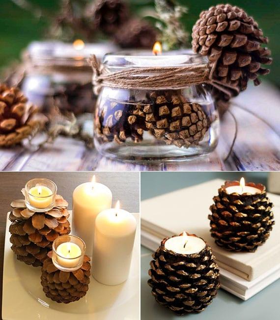 rustikale tischdeko mit kerzenlicht aus teelichten in diy zapfen-teelichthalter als coole idee für natürliche weihnachtsdeko