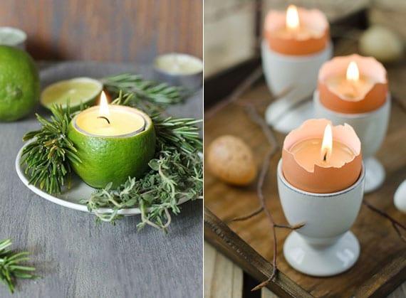 rustikale tischdekoration mit teelichtern in selbstgemachten kerzenhaltern als coole dekoidee mit kerzen, eierschalen und limetten