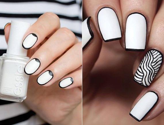 weiße nägel mit schwarzem akzent als coole idee für attraktive maniküre