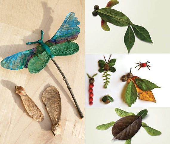 tiere und insekte basteln mit blättern, zweigen und beeren