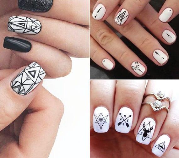tolle geometrische nagelgestaltung in schwarz für interessante maniküre weiß