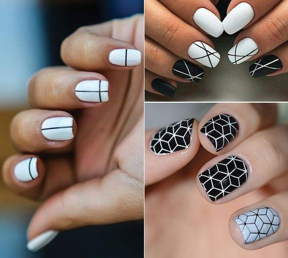 geometrische motive aus schwarzen linien für moderne maniküre weiß