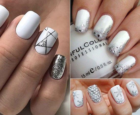 coole winter maniküre ideen mit festlichem nageldesign weiß und silber, schneeflocken-aufkleber, silbernen schmucksteinen