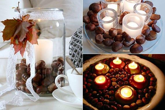 coole kerzendeko ideen mit weißen kerzen, kastanien und diy apfel-teelichter