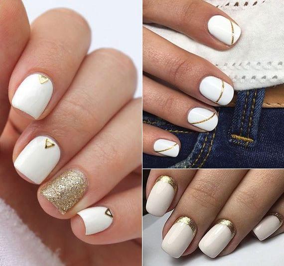sicke maniküre für kurze weiße fingernägel mit glitzer-nagellack gold
