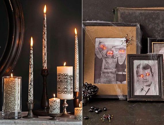 DIY Halloween Deko mit alten schwarzweisen Familienforos und weißen Kerzen mit schwarzem Spitzen-muster
