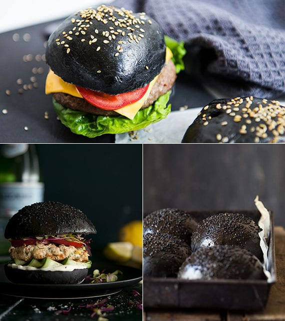 einfaches rezept für schwarze hamburger buns mit sesam und leckere lachsburger mit gurken, tomaten,wasabipaste und mayo