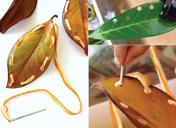 kreatives basteln mit blettern und coole bastelidee für kinder im herbst