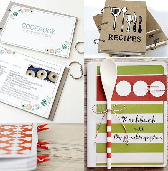einfache bastelidee mit vorlage für DIY Kochbuch als kreative geschenkidee für selbstgemachtes geschenk