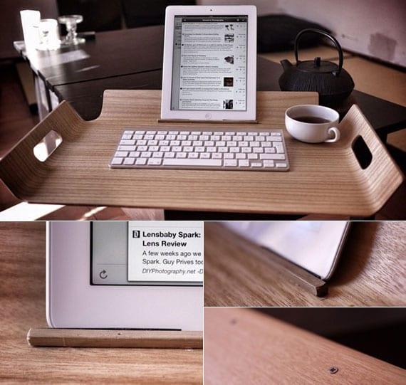 coole bastelidee für mobile Tablet-Workstation aus holztablett als originelle geschenkidee für selbstgemachtes geschenk