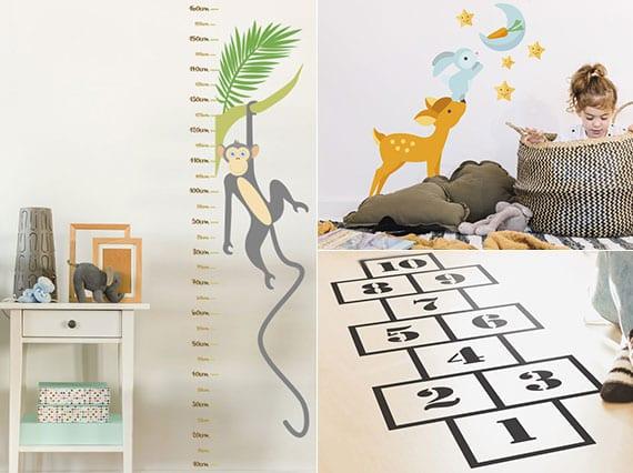 coole gestaltungsideen fürs kinderzimmer mit Messlatte als Wandsticker, Damespiel als Bodenaufkleber und Tiere-Wandtattoos
