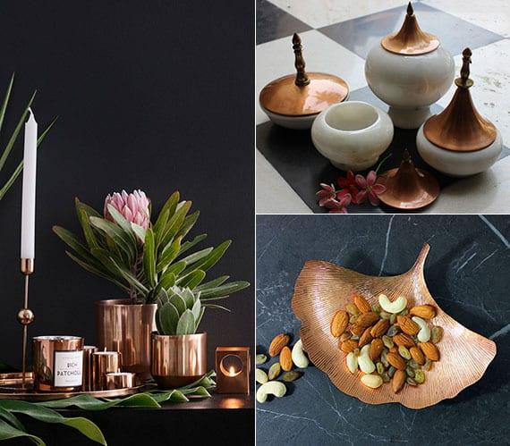 moderne tischdekoration mit schalen, deko-behältern, teelichthalter und blumentöpfen aus kupfer