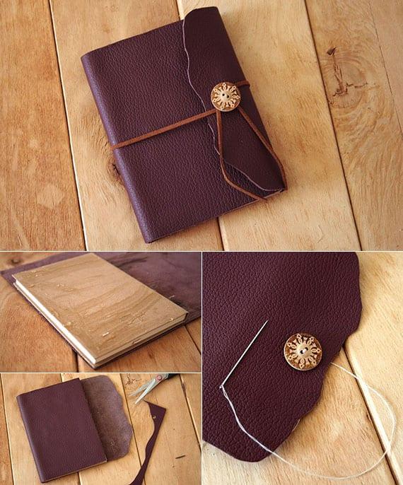 diy notizbuch aus leder als coole geschenkidee für selbstgemachtes Geschenk zu Weihnachten oder anderem Anlass