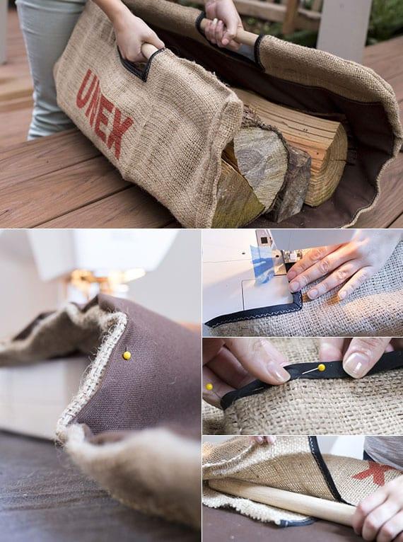 coole bastelidee für diy feuerholztasche aus jutesack als originelle Geschenkidee für DIY Geschenk zu Weihnachten