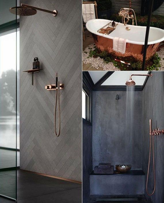 tolle badideen für moderne badezimmergestaltung in grau mit kupfer-akzenten wie eine verkupferte badewanne oder badarmaturen in kupfer-optik