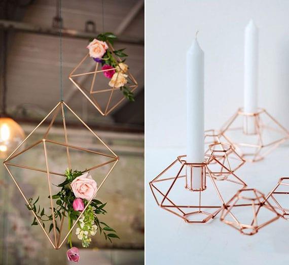 attraktive blumendeko idee und moderne tischdeko mit selbstgemachten kerzenhalter aus kupferstäbchen