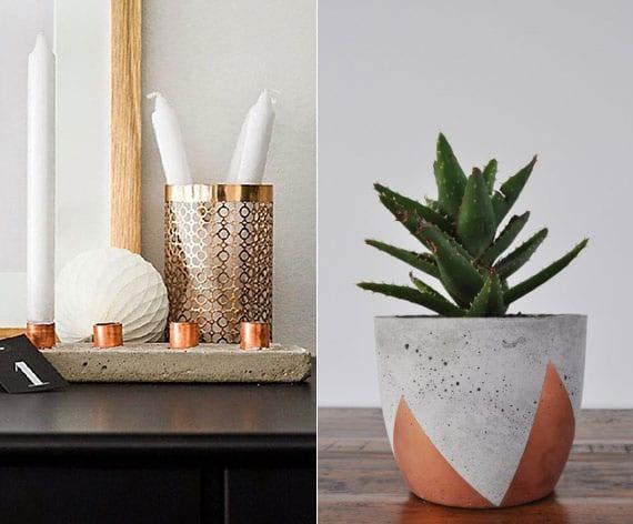 attraktive und moderne zimmerdeko mit diy Kerzenhalter und DIY blumentopf aus beton und kupfer