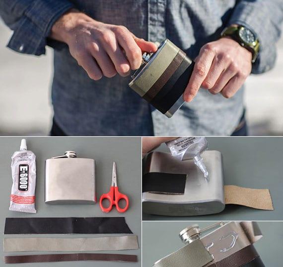 coole bastelidee für DIY Leder-Feldflasche als Geschenkidee für männer