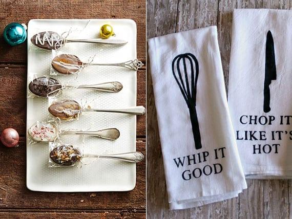 fantastische ideen für DIY WEihnachtsgeschenke aus der Küche und coole bastelidee für DIY küchentücher mit besteck-muster