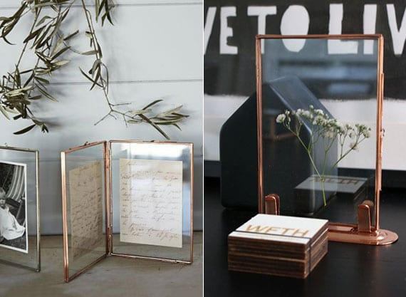 originelle dekoideen mit kleinen bilderrahmen aus kupfer als moderne tischdeko