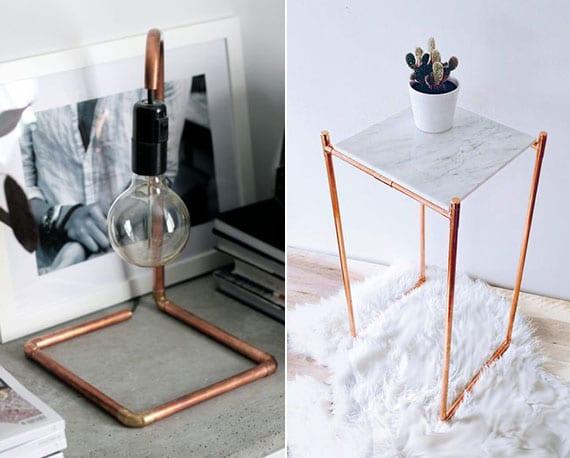 coole bastelideen für diy tischlampe und diy beistelltisch aus kupferrohren und marmorplatte für attraktive zimmerdeko im vintage stil