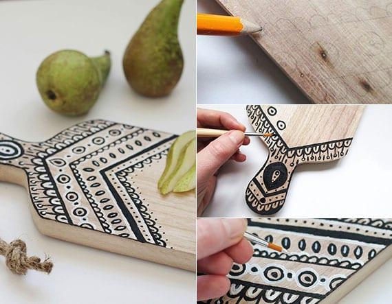 schneidebrett aus holz kreativ gestalten mit acrylfarbe als tolle geschenkidee für DIY Geschenke