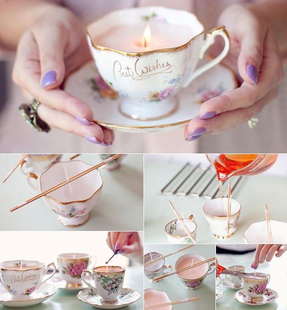 hausgemachte kerzen in teetasen als coole dekoidee und geschenkidee