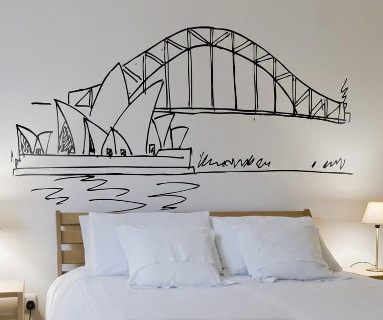 kreative raumgestaltung mit wandaufkleber-skizze von sydney opera house als moderne akzentwand hinterm bett