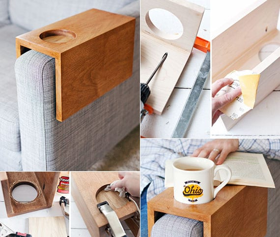 bastelidee für DIY Sofa-Getränkehalter aus holz als coole Idee für selbstgemachtes Geschenk