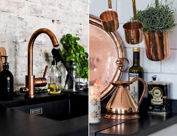 Küche Modern Einrichten Und Dekorieren Mit Wasserhahn Und Geschirr In Kupfer,  Spülbecken Und Küchenarbeitsplatte Schwarz