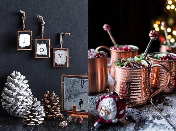 coole weihnachtsdeko ideen mit weißen nadelbaumzapfen, wanddeko mit kleinen bilderrahmen und heißen wintergetränken in kupfertassen
