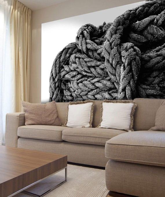 coole wandgestaltungsideen für modernes wohnzimmer in beige mit fotorealistischem wandaufkleber als dekoration über ecksofa mit holzcouchtisch
