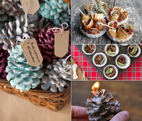 attraktive winter dekoidee und coole geschenkidee zu weihnachten mit DIY kaminanzünder aus naturmaterialien