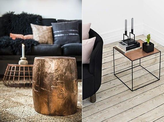 coole einrichtungsideen für wohnzimmer mit schwarzem sofa und kaffeetisch kupfer