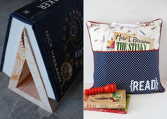 coole bastelideen für DIY Dreieck-Buchständer aus Holz und DIY Reisekissen mit Tasche für Bücher als selbstgemachte geschenke für leseratten