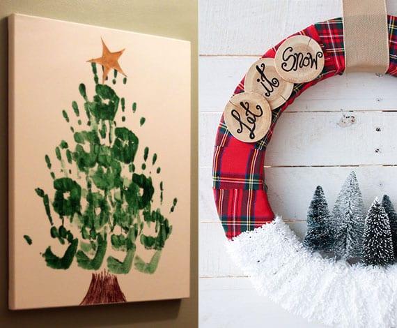 selbstgemachte handabdruck-bilder und weihnachtskränze sind super weihnachtsgeschenke für eltern und freunde