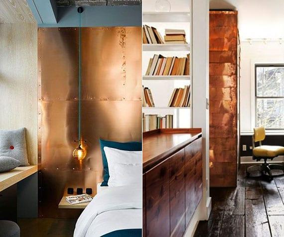 moderne und attraktive raumgestaltung mit kupfer-wandverkleidung im schlafzimmer und flur