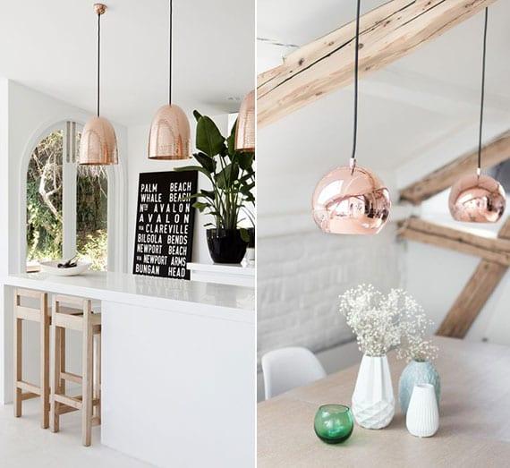 weiße küche modern einrichten mit leuchten aus kupfer, esstisch holz, kücheninsel weiß, holzbalken, akzent in schwarz, weißen blumenvasen