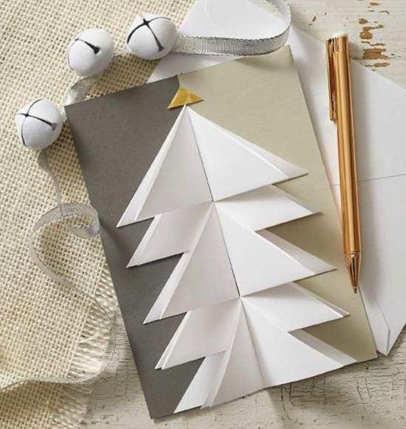 faltkarte mit christbaum aus papier selber basteln