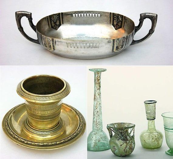 trinkbehälter aus Glas, schalen und behälter aus silber oder bronze bezeichnen den luxus im römischen triclinium